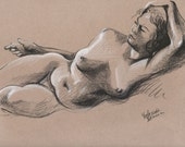Reclined nude #2 - Original Charcoal Pencil Drawing from Life Model