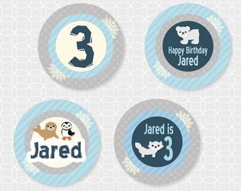 Arctic Animals Party Circles - Personalized Printable
