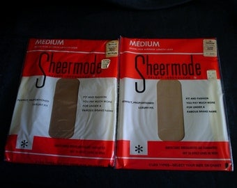 60s 10 M 2 Pairs Sheermode Nylons Stockings Sheer Seamless Mesh Taupeglo Deadstock in Box