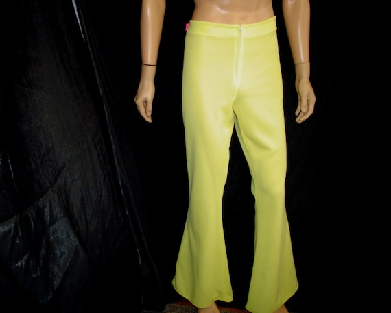 "35"" x 34"" L Mens Polyester Bell Bottom Pants WeirdoWear Disco Yellow"