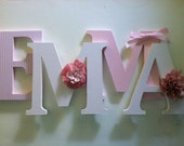 """Nursery wooden  wall letters in pink and white  nursery letters child's name 8 """" wall letters initial monogram"""