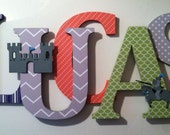 Nursery wooden   wall letters knight themed  in orange, gray blue and green