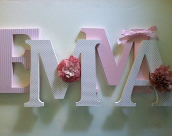"Nursery wooden  wall letters in pink and white  nursery letters child's name 8 "" wall letters initial monogram"