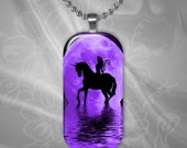 Purple Fairy Unicorn Moon Glass Tile Pendant