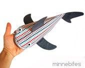 Modern Dots Shark by Minnebites / Pencil Case - Shark Bag - Office Organizer - Handmade Fish Zipper Pouch - Gift for Guys - Personalized Bag