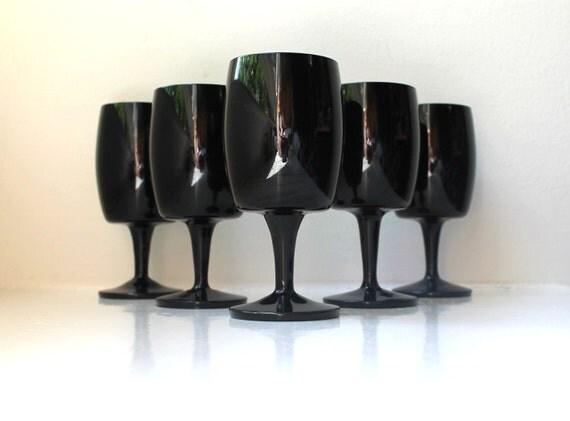 Mid Century Modern Black Wine Glasses Set Of 5 Amethyst Gorham