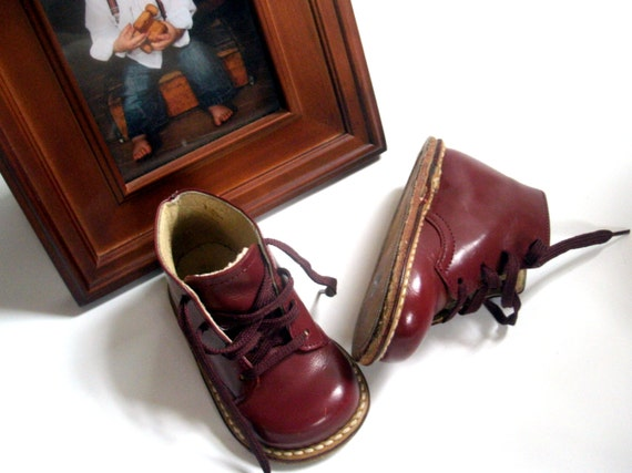 Vintage Red/Brown Leather Baby Boy Walking Shoes 4.75 inches