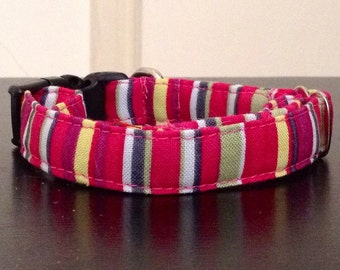 Red Maroon Stripes - Eco Dog Collar