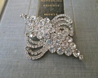 vintage rhinestone pin - large, swirls, sparkly