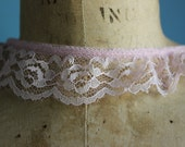 Pink Ruffled Lace Trim with  scalloped edges  - ...Great for Costumes, Aprons....   1 Inch wide