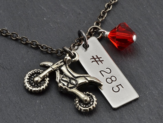 race necklace dirt bike charm number necklace by