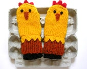 Chicken Mittens Hand-Knit Colorful, Warm and FUN - Children's Size 7 - 8 year old