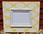 Yellow with off white 8 x 10 distressed frame