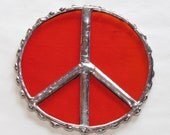 Stained Glass Suncatcher - Peace Symbol, Silver Solder, select your color