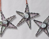 Stained Glass Suncatcher- Three Mini Crazy Stars - Freestyle Star with Jewel Center - Ornament