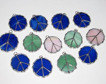 Stained Glass Suncatcher - Small Glass Peace Symbol, Pick a color