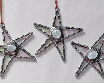 Stained Glass Suncatcher- Three Mini Crazy Stars - Freestyle Star with Jewel Center - Ornament
