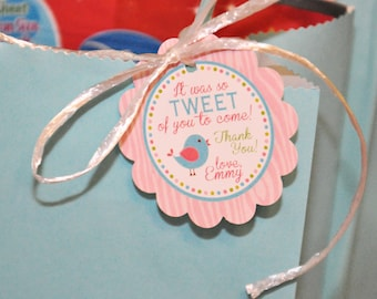 PRINTABLE FAVOR TAGS Tweet Bird or Little Birdie - Birthday Party or Baby Shower - Memorable Moments Studio