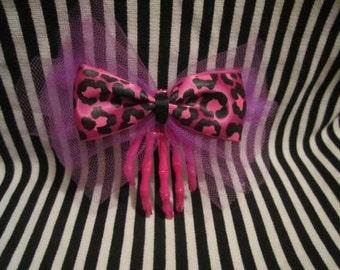 Neon Skeleton Hand Hair Bow