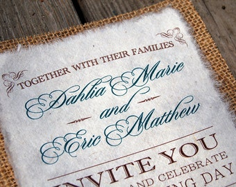 NEW- D-I-Y Modern Type Playbill With Accent Color Rustic Burlap Wedding Invitation