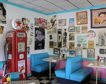 Pink Cadillac Diner Booths, 1950s nostalgia, 8 x 10 fine art photo, signed