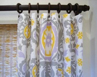 Window Curtains Custom Curtain Panels Suzani Twill Wisteria 52x60 - 52x108