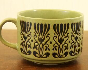 Vintage Green Stoneware Soup Cup w/Art Noveau Pattern (E3330)