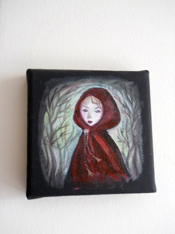 Original Black Canvas Painting, Little Red Riding Hood, by Margeaux Lucas