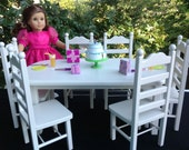 White Donné Table 6 chair set 18 in American Girl doll
