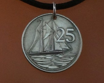 SAILING NECKLACE. CAYMAN islands coin necklace jewelry. mens. mans. sailor. No.001689