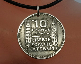 1948 necklace - FRANCE  Franc coin necklace - Liberate Egalite Fraternite charm pendant - partsforyou Cecile Stewart  NO.00218