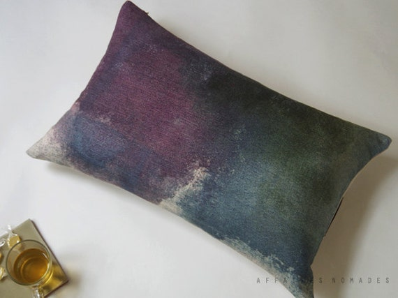 Linen Oblong Pillowcase. Violet and Blue gray.. R e e f  /  FRAGMENTS