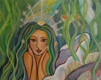 Green Mermaid Magic  16 x 20  Acrylic Painting on Canvas by Lesli Pringle Burke