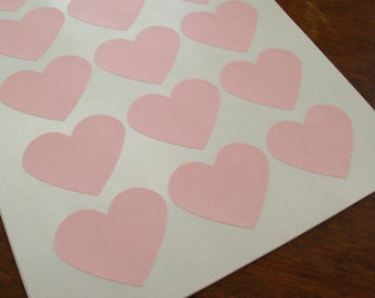 "Large Pastel Pink Heart Sticker, Light Pink Heart Labels 2.275"" x 1.8"" - Set of 30"