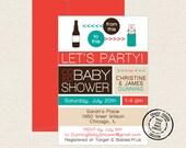 Co Ed Baby Shower Beer Bottle To Baby Bottle - 15 Custom Invitations with Envelopes