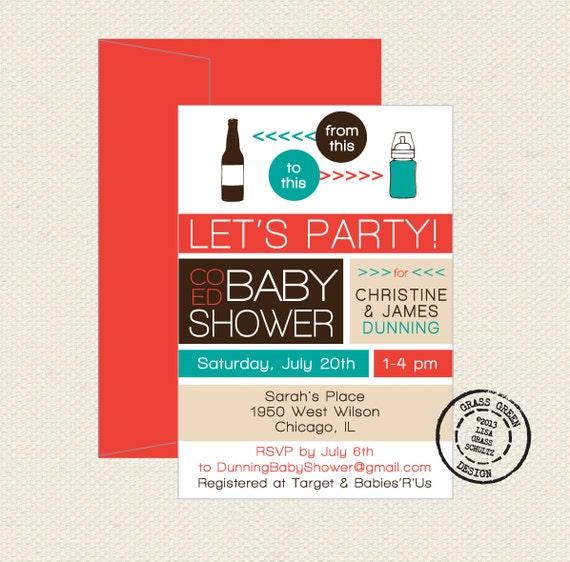 co ed baby shower beer bottle to baby bottle 15 custom invitations