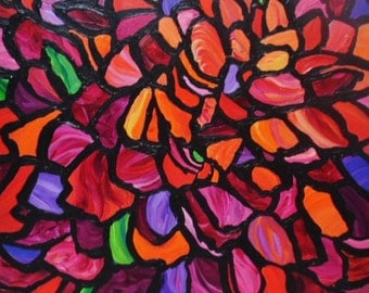 """Zinnia - an Original Abstract Acrylic Floral Flower Garden - Stained Glass Window Painting - Red Orange 16 x 16"""" square by SARA LARSON"""