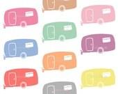 Retro Clipart, Summer Clipart, Camping Clip Art, Camper, Caravan, RV, Digital Clip Art, Instant Download, Commercial Use