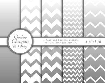 Instant Download - Printable Grey Ombre Paper - Grey Chevron Paper Digital - Invitation Paper - Grey Scrapbooking Paper - Commercial Use CU
