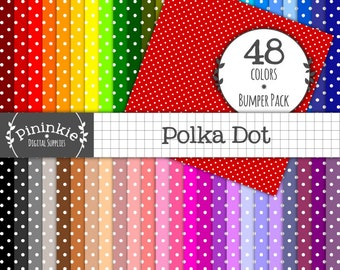 Polka Dot Digital Paper - INSTANT Download - 48 Basic Digital Scrapbook Paper  - 12x12 - Commercial Use (Cu) - Digital Paper Po