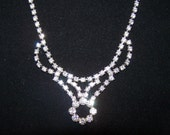 SALE - TAKE 20% OFF - Art Deco Rhinestone Necklace - Free Shipping
