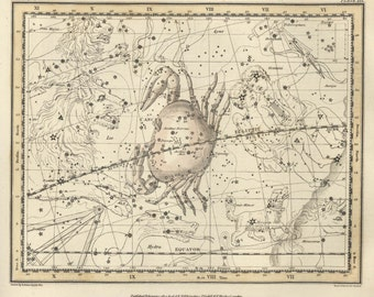 Map constellations, Celestial map, Constellation, Vintage art,  #70