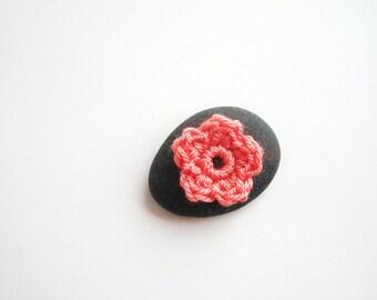 Crochet Flower Appliques, Tiny Small Cute Flowers, Decorative Motifs, Dreamy Salmon Pink, Set of 10, Embellishments, Scrapbooking