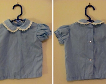 Vintage 60's Blue Peter Pan Collared Baby Girl Blouse - 18M - by Thomas