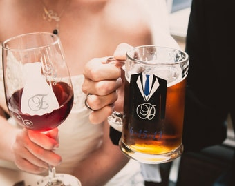 2 Personalized Bride and Groom wine glass and beer mug for wedding toasting glasses.
