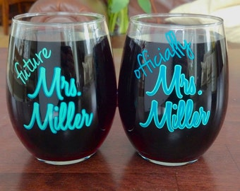 Bridal wine glass.  Bridal shower gift idea.  Stemless wine glasses with Future Mrs. and Official Mrs..  Teal and mint or you pick colors