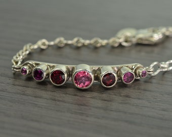 Gemstone Bracelet, silver garnet topaz stacking bracelet, January October Birthstone - Tiara Bracelet