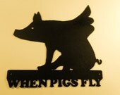 When Pigs Fly, Metal Art, Office, Business, Home, Cabin,Boar, Wild Pig, Welcome