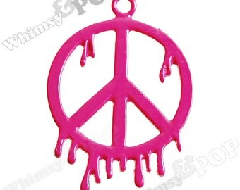 1 - Hot Pink Melted Peace Symbol Charm, Peace Sign Charm, 28mm x 38mm (5-2H)