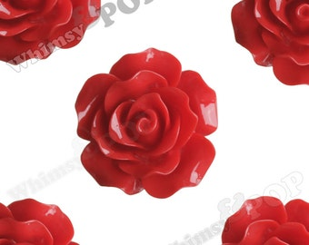 Large Detailed Cherry Red Rose Deco Resin Cabochons, Flower Shaped, 20mm x 9mm (R1-021)